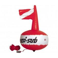Буй Cressi Competition Float круглый с надувным флагом